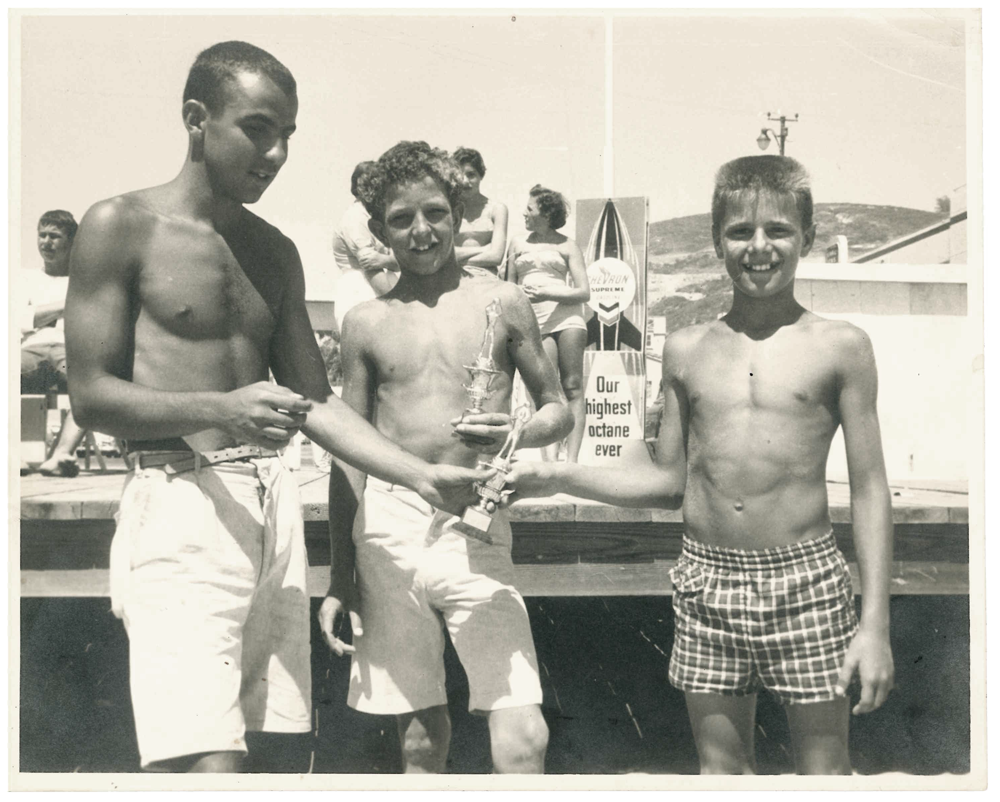 1940's or 1950's picture of 3 boys with trophy's at main beach