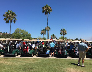 Bob Margolis Golf Tournament carts lined up and ready to go