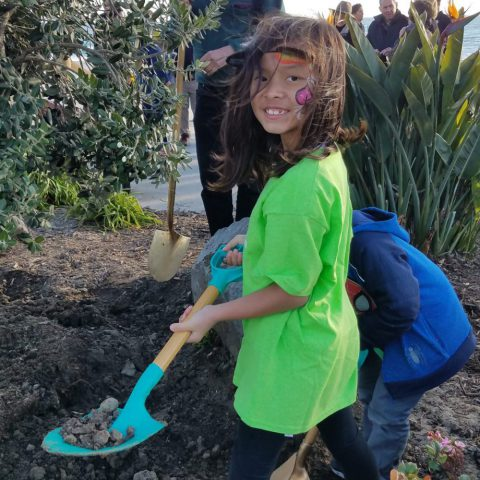 Young girl with shovel in planter